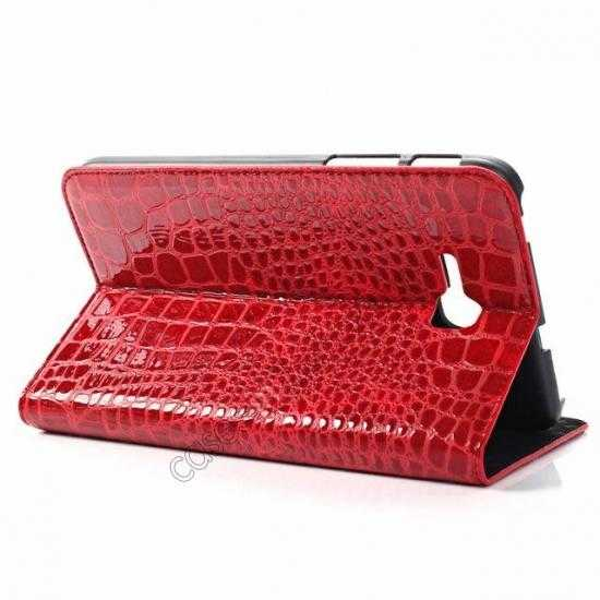 top quality Crocodile Pattern Flip Stand Ultraslim PC+Leather Case For Samsung Galaxy Tab 3 Lite 7 T110 - Red