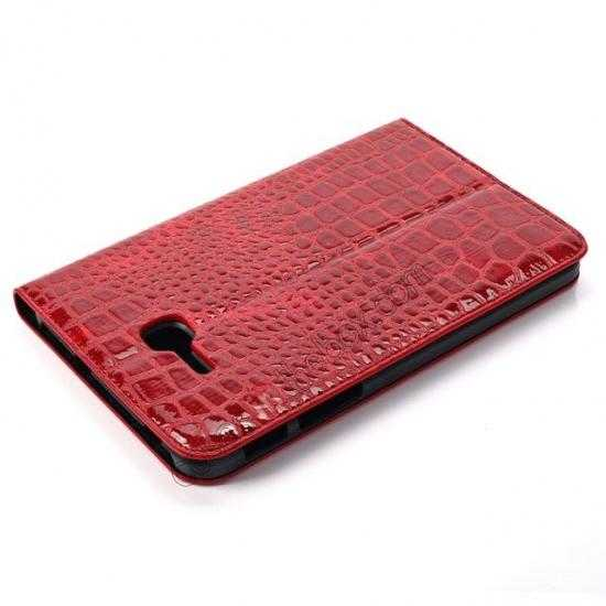 best price Crocodile Pattern Flip Stand Ultraslim PC+Leather Case For Samsung Galaxy Tab 3 Lite 7 T110 - Red