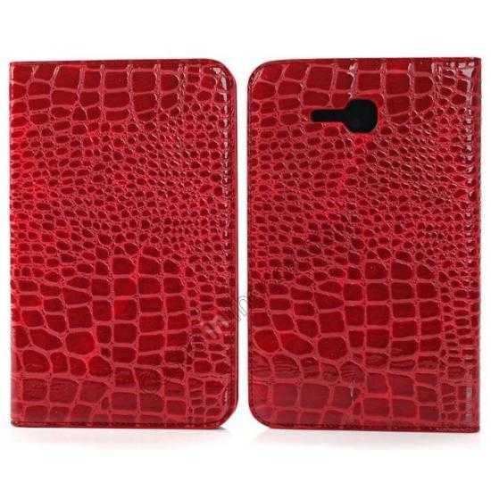 wholesale Crocodile Pattern Flip Stand Ultraslim PC+Leather Case For Samsung Galaxy Tab 3 Lite 7 T110 - Red