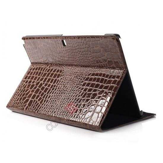 wholesale Crocodile Skin Pattern Leather Stand Case for Samsung Galaxy Tab Pro 12.2 P900 - Brown
