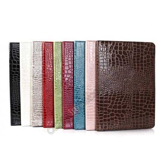 best price Crocodile Skin Pattern Leather Stand Case for Samsung Galaxy Tab Pro 12.2 P900 - Grey