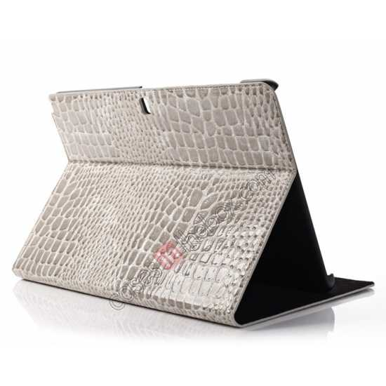 wholesale Crocodile Skin Pattern Leather Stand Case for Samsung Galaxy Tab Pro 12.2 P900 - Grey