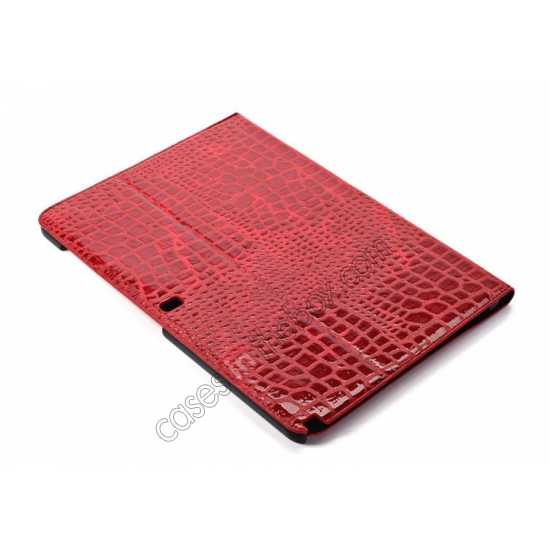 best price Crocodile Skin Pattern Leather Stand Case for Samsung Galaxy Tab Pro 12.2 P900 - Red