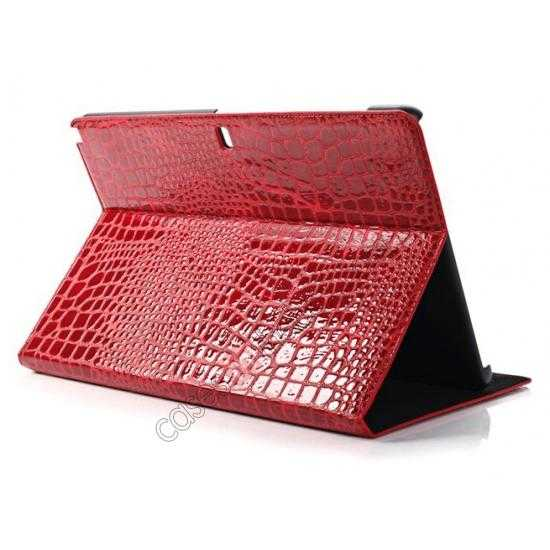 wholesale Crocodile Skin Pattern Leather Stand Case for Samsung Galaxy Tab Pro 12.2 P900 - Red