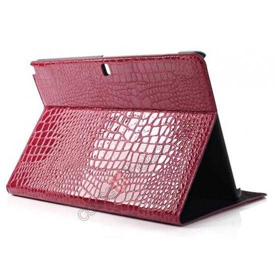 wholesale Crocodile Skin Pattern Leather Stand Case for Samsung Galaxy Tab Pro 12.2 P900 - Rose red
