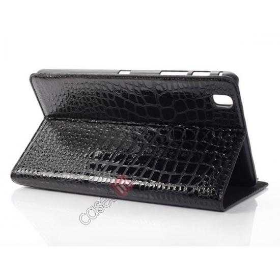 wholesale Crocodile Skin Pattern Leather Stand Case for Samsung Galaxy Tab Pro 8.4 T320 - Black