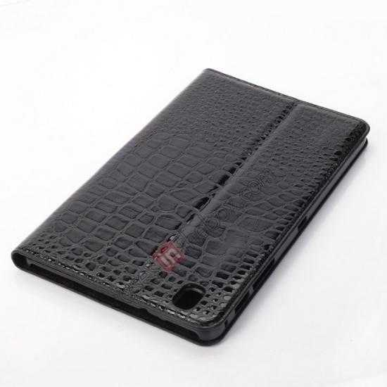 best price Crocodile Skin Pattern Leather Stand Case for Samsung Galaxy Tab Pro 8.4 T320 - Black