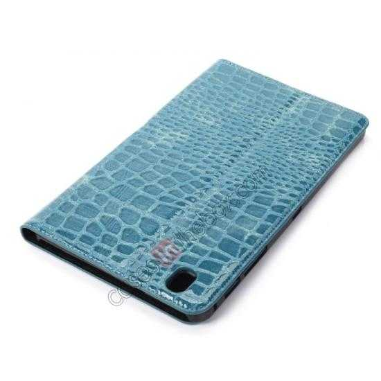best price Crocodile Skin Pattern Leather Stand Case for Samsung Galaxy Tab Pro 8.4 T320 - Blue