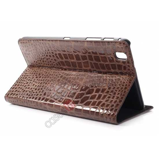 wholesale Crocodile Skin Pattern Leather Stand Case for Samsung Galaxy Tab Pro 8.4 T320 - Brown