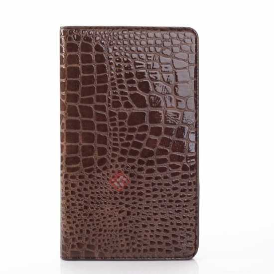 cheap Crocodile Skin Pattern Leather Stand Case for Samsung Galaxy Tab Pro 8.4 T320 - Brown