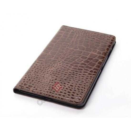 best price Crocodile Skin Pattern Leather Stand Case for Samsung Galaxy Tab Pro 8.4 T320 - Brown