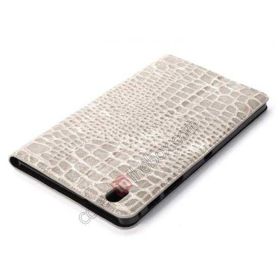 best price Crocodile Skin Pattern Leather Stand Case for Samsung Galaxy Tab Pro 8.4 T320 - Grey