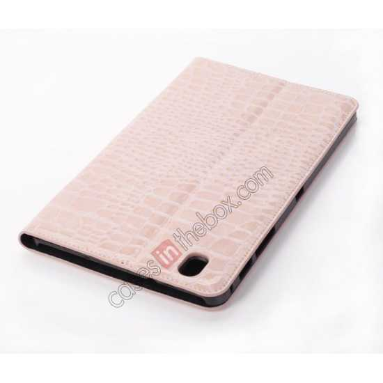 best price Crocodile Skin Pattern Leather Stand Case for Samsung Galaxy Tab Pro 8.4 T320 - Pink