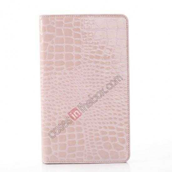 cheap Crocodile Skin Pattern Leather Stand Case for Samsung Galaxy Tab Pro 8.4 T320 - Pink