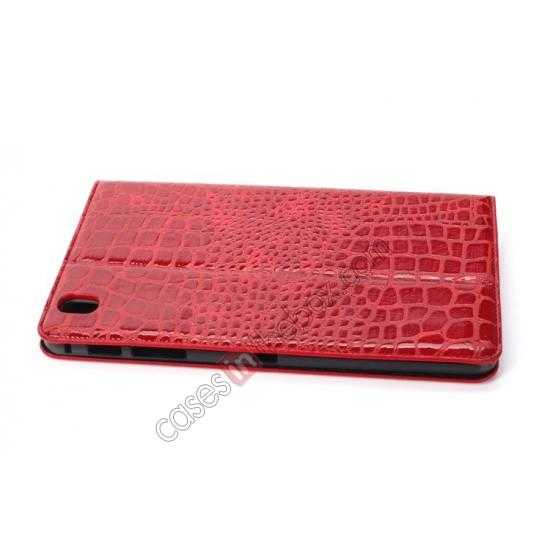 best price Crocodile Skin Pattern Leather Stand Case for Samsung Galaxy Tab Pro 8.4 T320 - Red