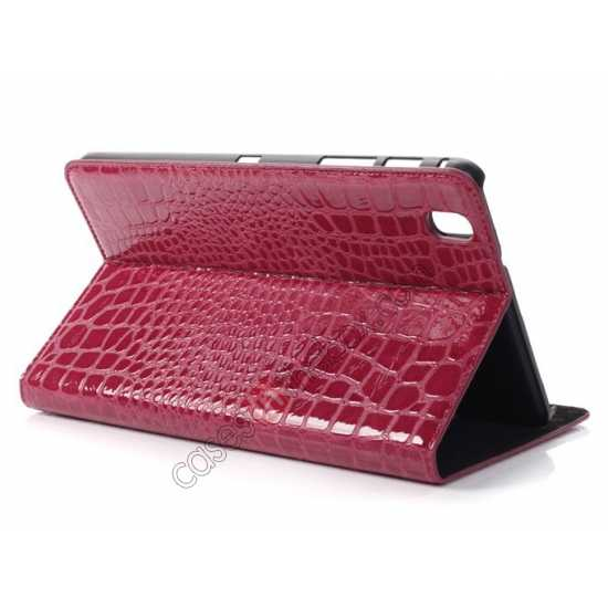 wholesale Crocodile Skin Pattern Leather Stand Case for Samsung Galaxy Tab Pro 8.4 T320 - Rose red