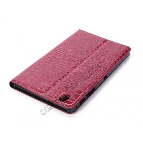 best price Crocodile Skin Pattern Leather Stand Case for Samsung Galaxy Tab Pro 8.4 T320 - Rose red