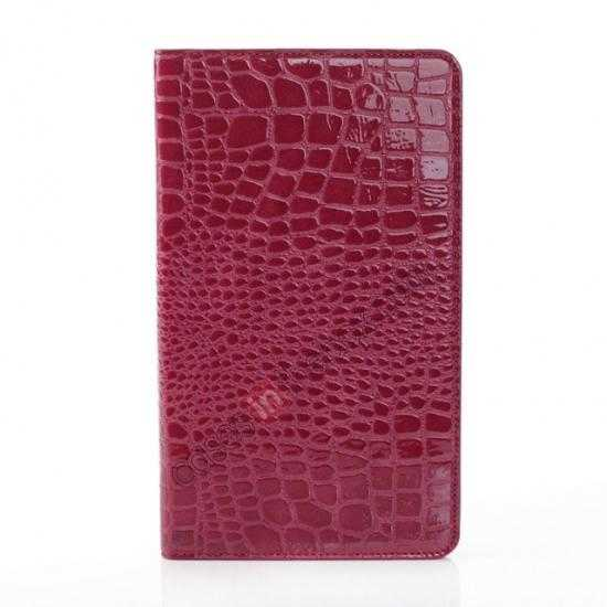 cheap Crocodile Skin Pattern Leather Stand Case for Samsung Galaxy Tab Pro 8.4 T320 - Rose red