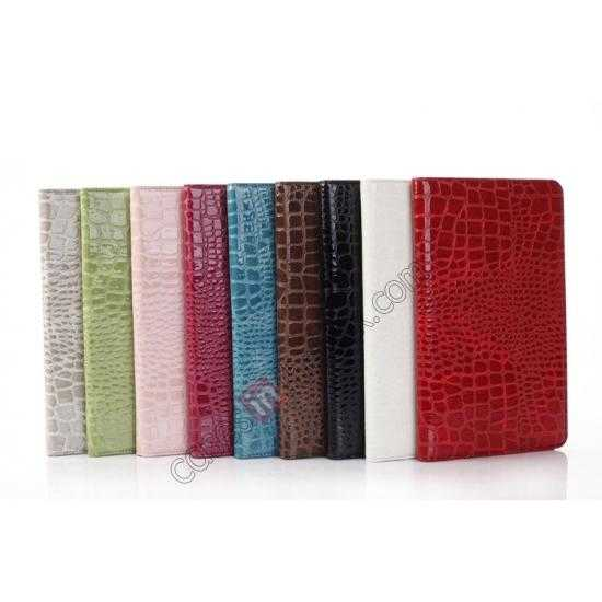 on sale Crocodile Skin Pattern Leather Stand Case for Samsung Galaxy Tab Pro 8.4 T320 - Rose red