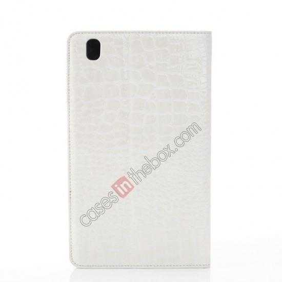 top quality Crocodile Skin Pattern Leather Stand Case for Samsung Galaxy Tab Pro 8.4 T320 - White