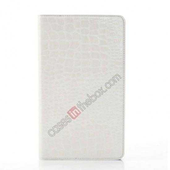 cheap Crocodile Skin Pattern Leather Stand Case for Samsung Galaxy Tab Pro 8.4 T320 - White