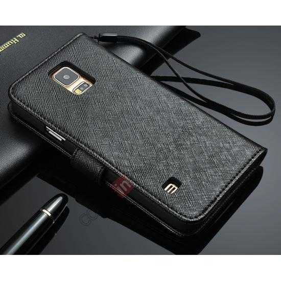 wholesale Cross Patren 100% Real Genuine Leather Stand Case for Samsung Galaxy S5 - Black