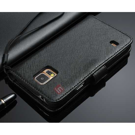 cheap Cross Patren 100% Real Genuine Leather Stand Case for Samsung Galaxy S5 - Black
