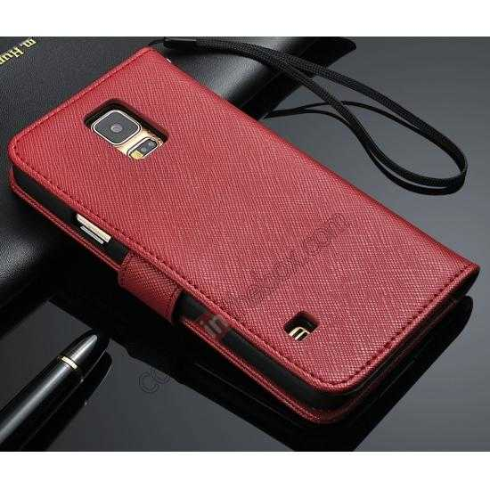 wholesale Cross Patren 100% Real Genuine Leather Stand Case for Samsung Galaxy S5 - Red