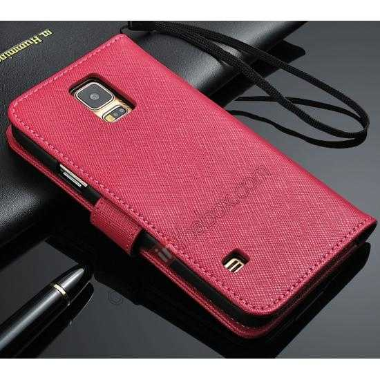 wholesale Cross Patren 100% Real Genuine Leather Stand Case for Samsung Galaxy S5 - Rose