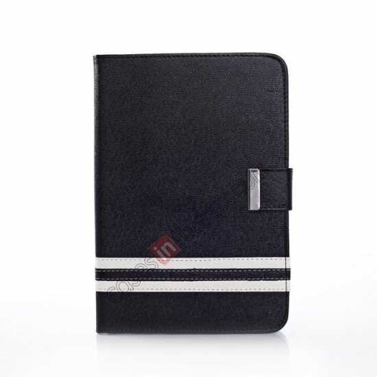 discount Cross Pattern Folio Stand Leather Case for iPad Mini 2 Retina with Card Slots - Black
