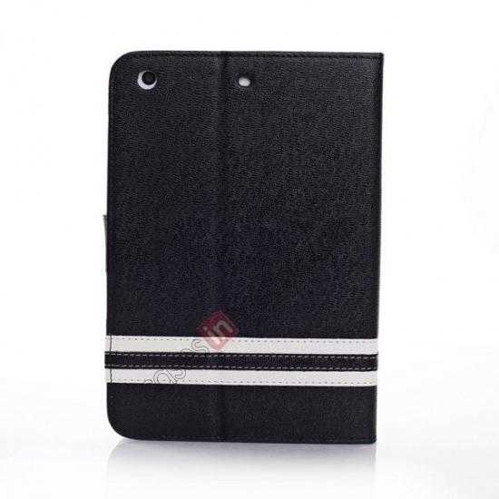 cheap Cross Pattern Folio Stand Leather Case for iPad Mini 2 Retina with Card Slots - Black