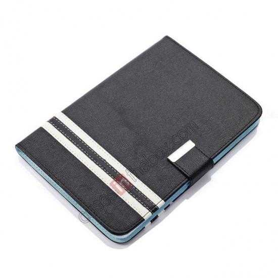 top quality Cross Pattern Folio Stand Leather Case for iPad Mini 2 Retina with Card Slots - Black