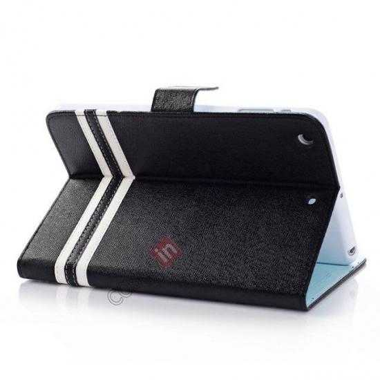 wholesale Cross Pattern Folio Stand Leather Case for iPad Mini 2 Retina with Card Slots - Black