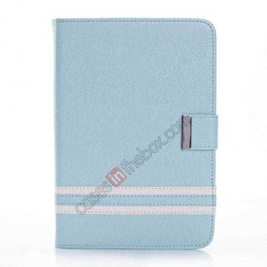 discount Cross Pattern Folio Stand Leather Case for iPad Mini 2 Retina with Card Slots - Light Blue