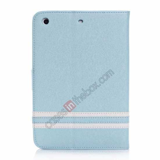 cheap Cross Pattern Folio Stand Leather Case for iPad Mini 2 Retina with Card Slots - Light Blue