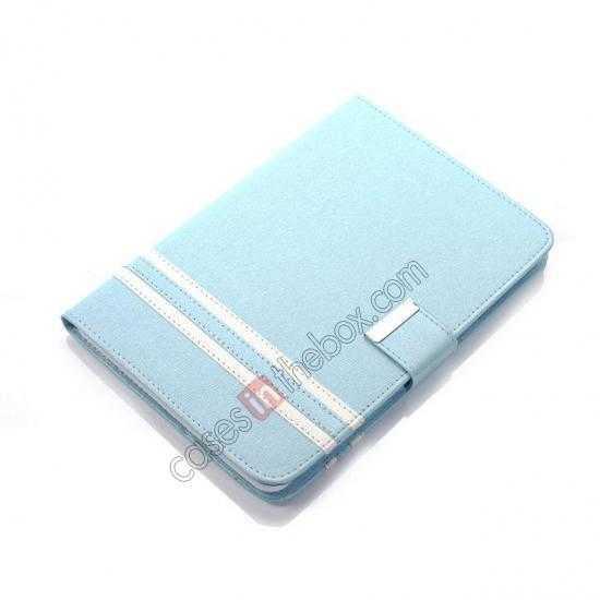 top quality Cross Pattern Folio Stand Leather Case for iPad Mini 2 Retina with Card Slots - Light Blue