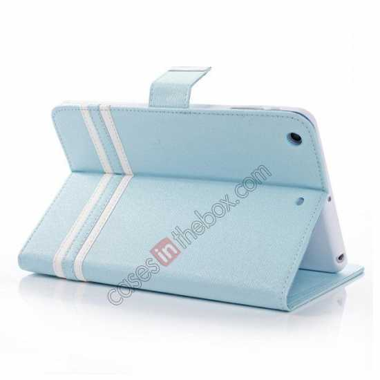 wholesale Cross Pattern Folio Stand Leather Case for iPad Mini 2 Retina with Card Slots - Light Blue