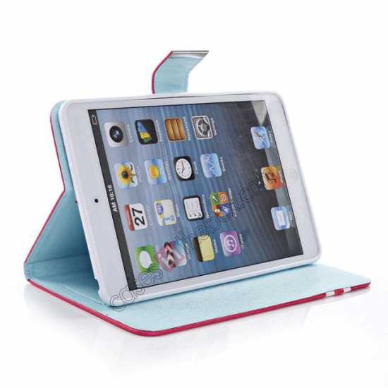 best price Cross Pattern Folio Stand Leather Case for iPad Mini 2 Retina with Card Slots - Light Blue