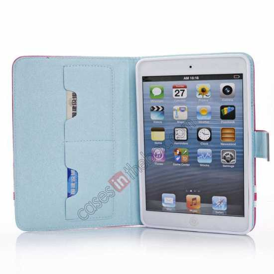 on sale Cross Pattern Folio Stand Leather Case for iPad Mini 2 Retina with Card Slots - Light Blue