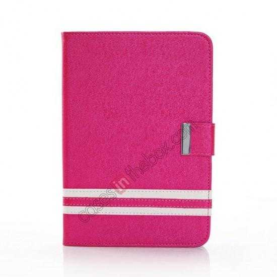 discount Cross Pattern Folio Stand Leather Case for iPad Mini 2 Retina with Card Slots - Rose