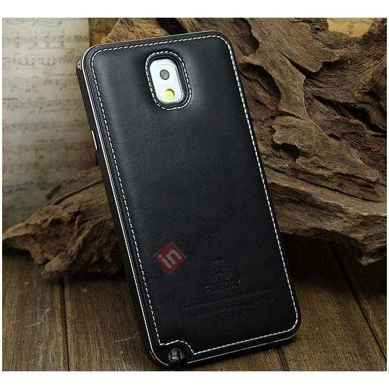 wholesale Deluxe All Metal Aluminum Case + Genuine Leather Protective back For Samsung Galaxy Note3 N9000 - Black