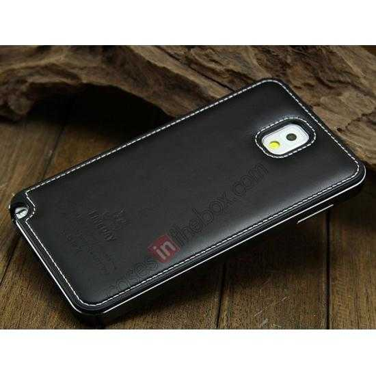 discount Deluxe All Metal Aluminum Case + Genuine Leather Protective back For Samsung Galaxy Note3 N9000 - Black