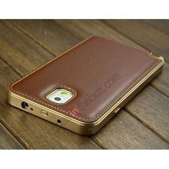 on sale Deluxe All Metal Aluminum Case + Genuine Leather Protective back For Samsung Galaxy Note3 N9000 - Champagne
