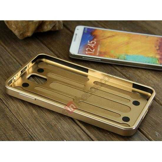 high quanlity Deluxe All Metal Aluminum Case + Genuine Leather Protective back For Samsung Galaxy Note3 N9000 - Champagne