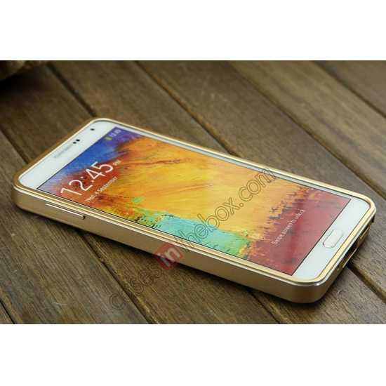 top quality Deluxe All Metal Aluminum Case + Genuine Leather Protective back For Samsung Galaxy Note3 N9000 - Champagne