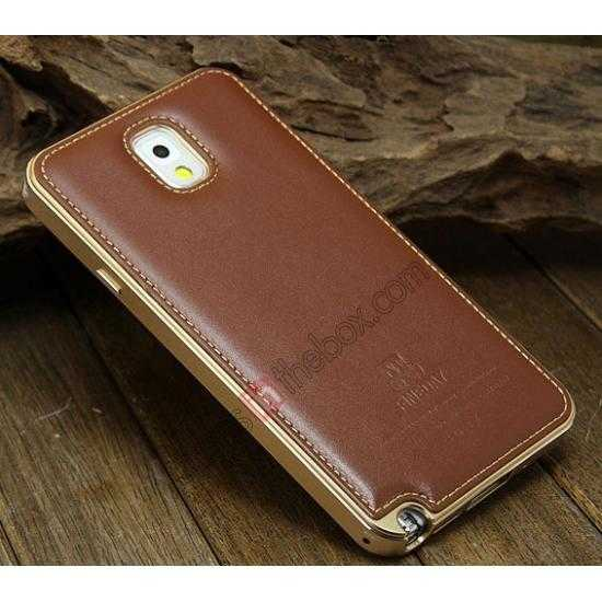 best price Deluxe All Metal Aluminum Case + Genuine Leather Protective back For Samsung Galaxy Note3 N9000 - Champagne