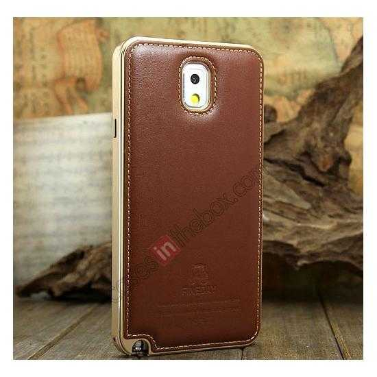 wholesale Deluxe All Metal Aluminum Case + Genuine Leather Protective back For Samsung Galaxy Note3 N9000 - Champagne