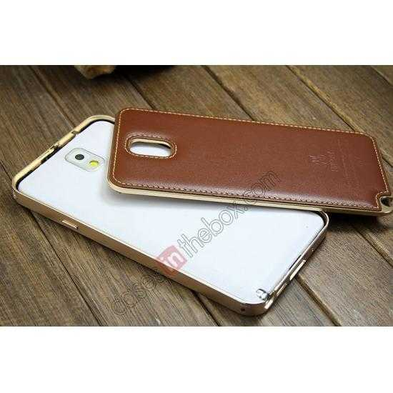 low price Deluxe All Metal Aluminum Case + Genuine Leather Protective back For Samsung Galaxy Note3 N9000 - Champagne