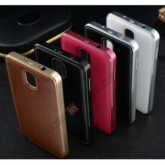 high quanlity Deluxe All Metal Aluminum Case + Genuine Leather Protective back For Samsung Galaxy Note3 N9000 - Rose red
