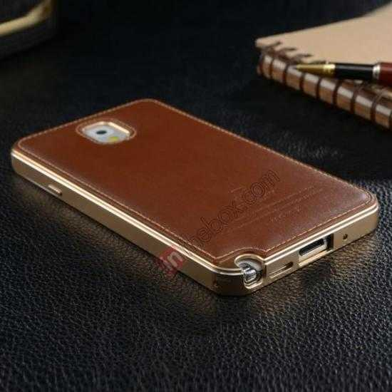 low price Deluxe All Metal Aluminum Case + Genuine Leather Protective back For Samsung Galaxy Note3 N9000 - Rose red
